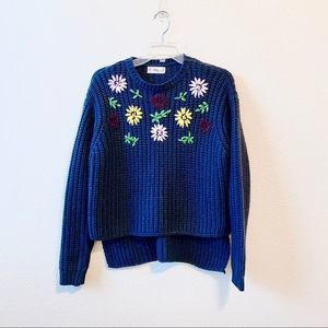 Floral Knit High-Low Sweater in Navy Blue